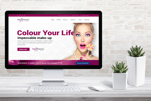 Webenito Case Study - Patrice Hair Salon Desktop Mockup